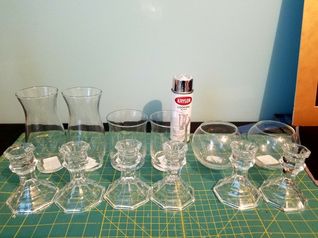 DIY candle holders step 1 - glass and spray paint