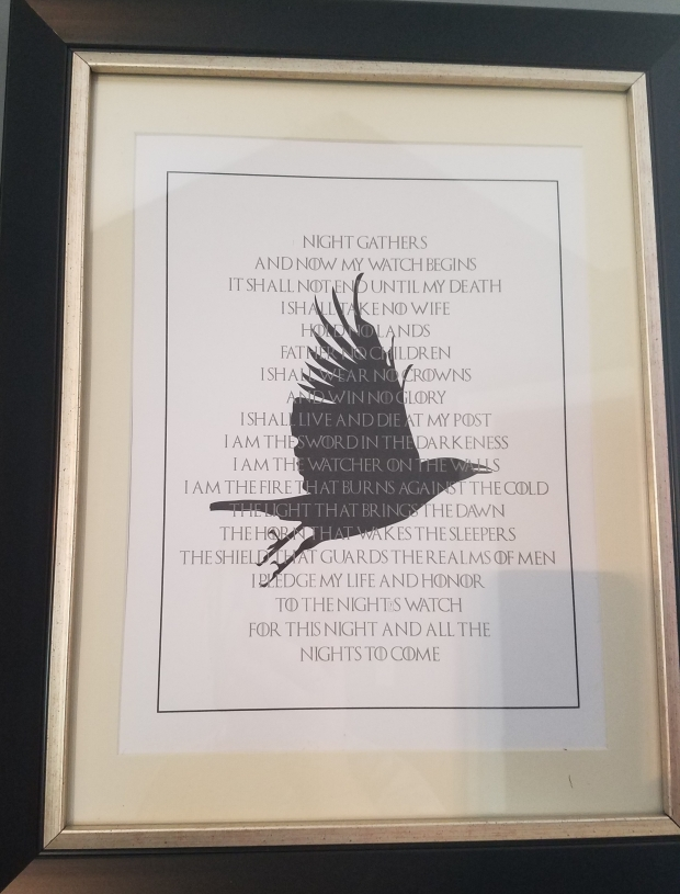 Game of Thrones Night's Watch Oath framed