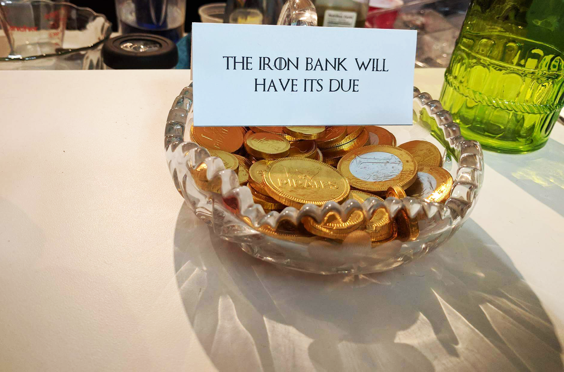 Game of Thrones party iron bank coins